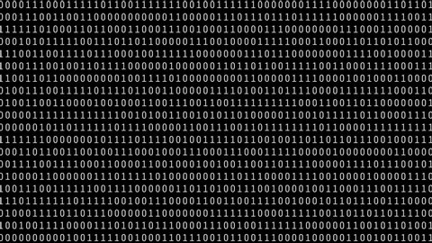 Abstract black and white binary code background