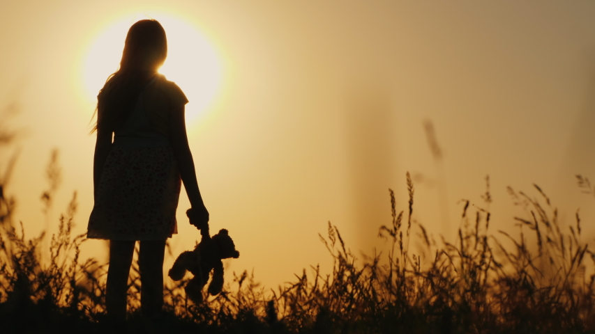 Silhouette of a girl with balloons and a teddy bear. It is worth the sunset. Farewell to childhood concept | Shutterstock HD Video #1029991094