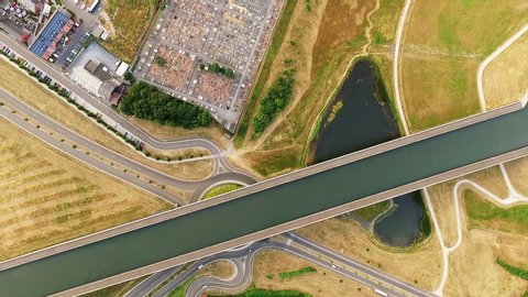 Pont Canal Du Sart In Belgium From Above