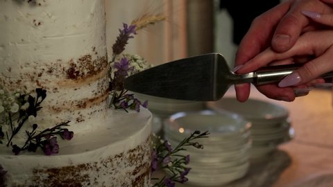Close up of man and woman cutting wedding cake together