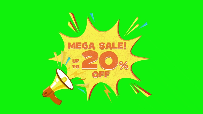 Mega sale text up to 20% off megaphone flying 3d animation on green screen  | Shutterstock HD Video #1030133354