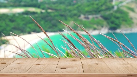 4K, UHD, 2160p- Wooden Table Texture In The Summer. On Beach Sea Blur Background.