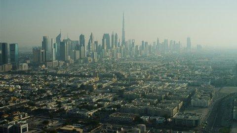 Aerial Cityscape view Burj Khalifa Skyscrapers Dubai UAE
