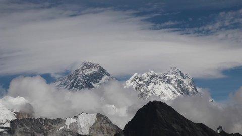 Scenic view of Mount Everest 8,848 m and Lhotse 8,516 m at gokyo ri mountain peak near gokyo lake during everest base camp trekking nepal