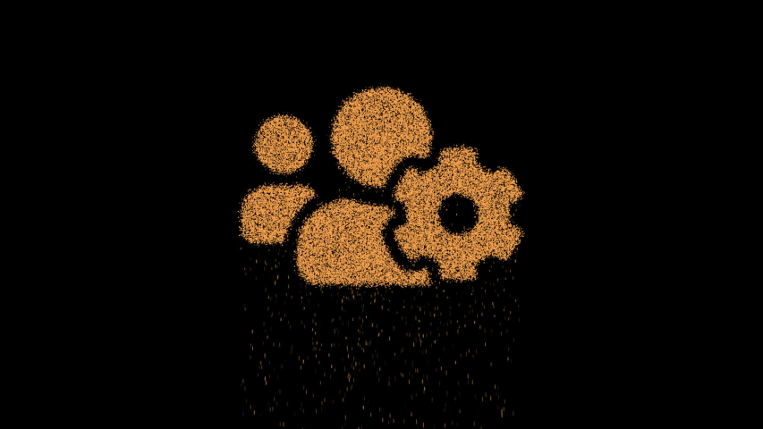 Symbol users cog appears from crumbling sand. Then crumbles down. Alpha channel Premultiplied - Matted with color black | Shutterstock HD Video #1030231274