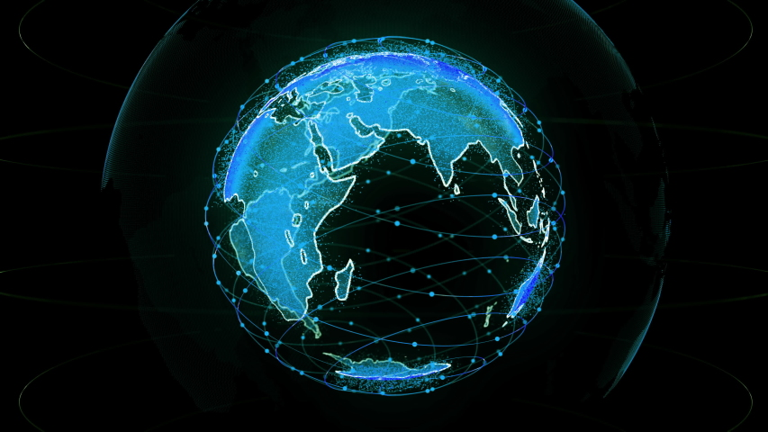 Digital earth data globe - abstract 3D rendering satellites network around the world. a scientific technology starlink satellites create oneweb or skybridge surrounding planet earth conveying #1030251134