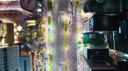 Hyperlapse of Seoul Gangnam District on the night, view from above. Aerial city panorama with a lot of traffic, modern skyscrapers and glittering street lights. 8K ultra high definition footage.