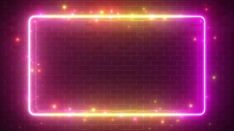 Rectangular neon sparkling luminous form on the background of a brick reflective surface. Modern ultraviolet fluorescent light spectrum. Seamless loop 4k 3d render yellow purple