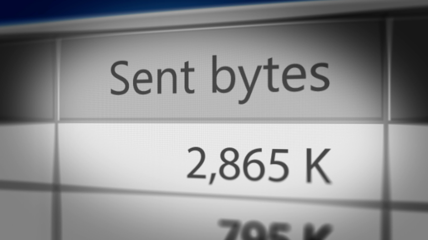 """Close up Shot of """"Sent bytes"""" on File Transfer Software. Seamless Loop.  