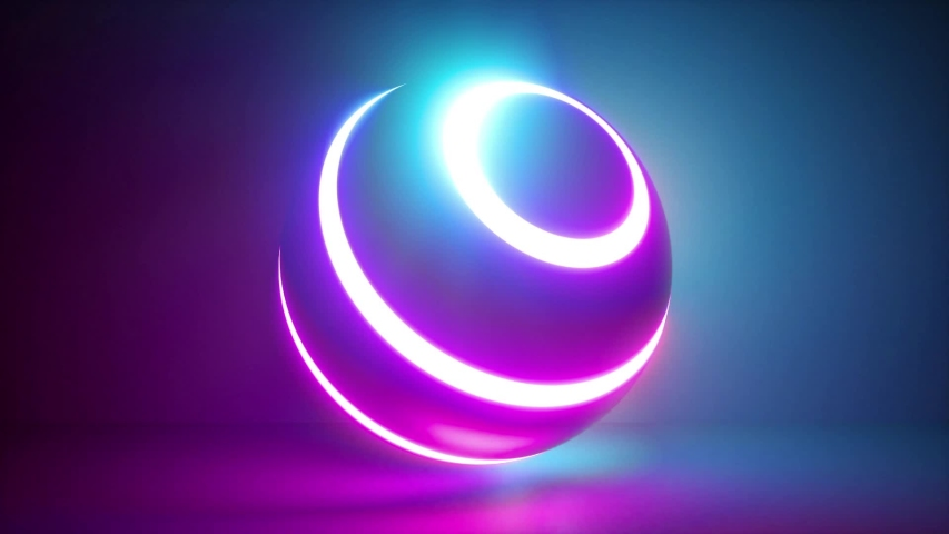 3d rendering, abstract neon background, white rings going over ball illuminated with pink blue light, isolated object in ultraviolet spectrum, looped animation | Shutterstock HD Video #1030338014