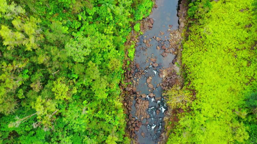 Aerial Drone - Scenic Akaka Tropical Jungle Waterfalls - Big Island Hawaii | Shutterstock HD Video #1030365344