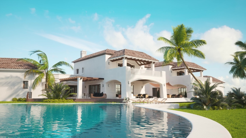 4k video of Recreation near the pool in expensive mansion. 3d render of Private villa. Expensive mansion in oriental style. Pool near the house.  | Shutterstock HD Video #1030369514