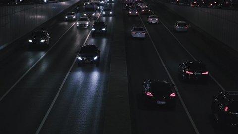 Evening traffic. The city lights.