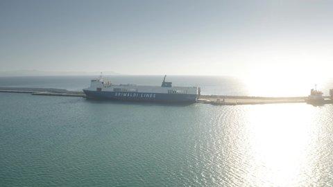 PIOMBINO, ITALY - JANUARY 2, 2019. Aerial view of Grimaldi Lines ro-ro cargo ship