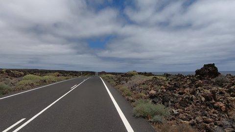 POV Lanzarote road drive LZ-1 to Orzola