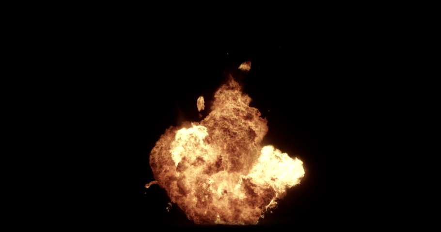 Close Up fire explosions and blasts. Explosion Spark and Particles Moves in isolated black background, fire and bomb explosion,  Burning fire Flames Igniting, Real fire, Giant real gas explosion, 4K