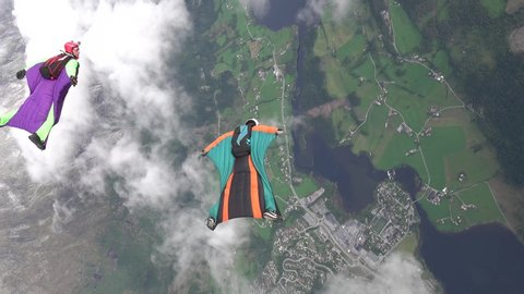 Wingsuit skydiving over Voss Norway