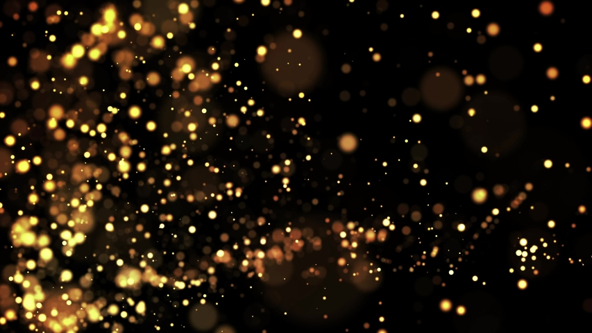 Gold particles in liquid float and glisten. Background with glittering golden particles depth of field and bokeh. Luma matte to cut out glowing particles for holiday presentations. 4k 3d animation. 64 | Shutterstock HD Video #1030915244