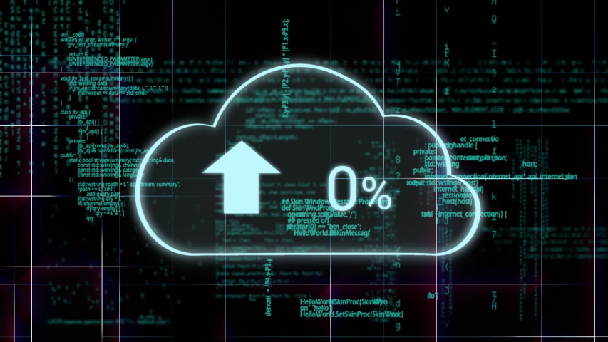 Digital animation of upload progress percentage in a cloud with a background of program codes and square patterns | Shutterstock HD Video #1030916144