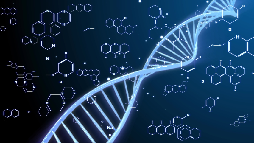 DNA Polished Double Helix Molecule Spin Strand Structure Futuristic. Float cellular deoxyribonucleic acid construction element for medical science chemistry information motion background. | Shutterstock HD Video #1030929614