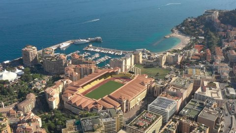 France, Monaco, Stade Louis II stadium, Fontvieille, aerial view by drone