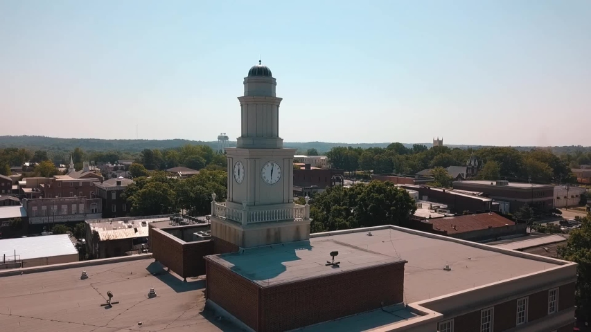 Clock tower drone shot Milledgeville  | Shutterstock HD Video #1030975004