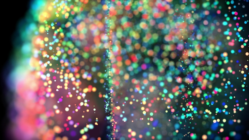Multicolored particles in liquid float and glisten. 4k 3d advection background with glittering particles, depth of field and bokeh isolated on black. Luma matte to cut out particles. 10 | Shutterstock HD Video #1030993034