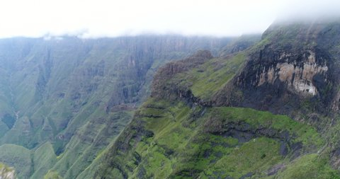 Cliff faces and peaks of the Drakensberg mountains at Tugela Falls