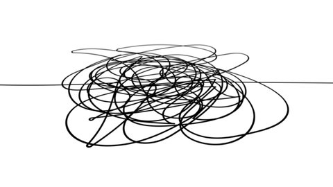 Hand drawn tangle scrawl sketch or black line spherical abstract scribble shape. Tangled chaotic doodle circle drawing circles or thread clew knot. 4K FullHD and HD render footage animation