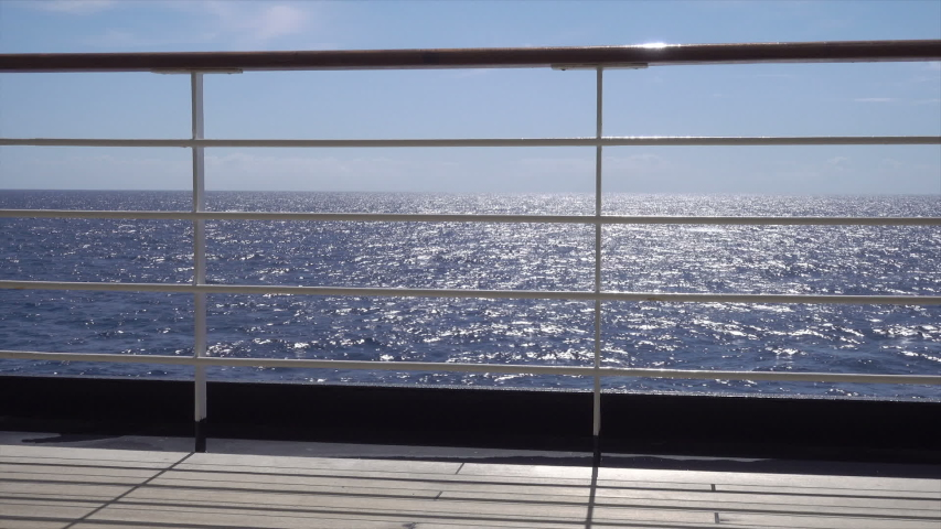 Handrail of cruise ship on sunny day at sea | Shutterstock HD Video #1031223674