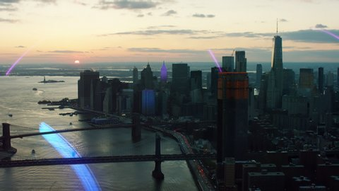 Aerial view of smart city New York with motion graphics in 4K