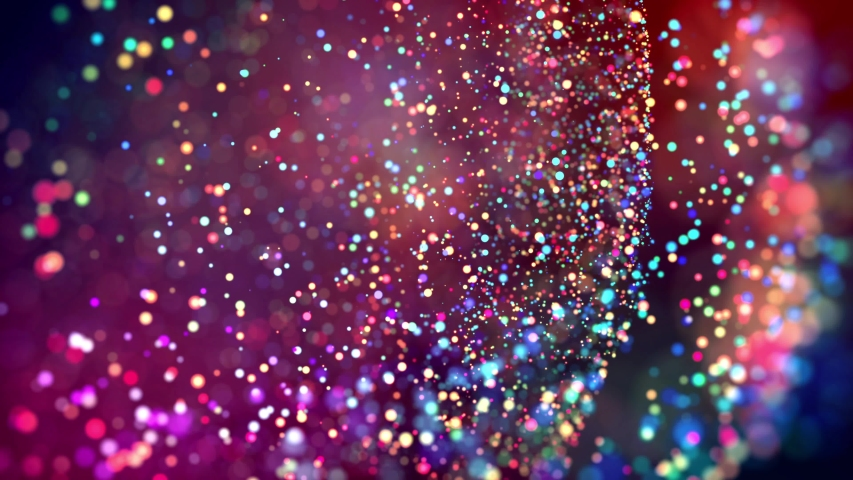 Multicolored particles like confetti or spangles float in a viscous liquid and glitter in the light with depth of field. 3d abstract animation of particles in 4k. luma matte as the alpha channel. 29