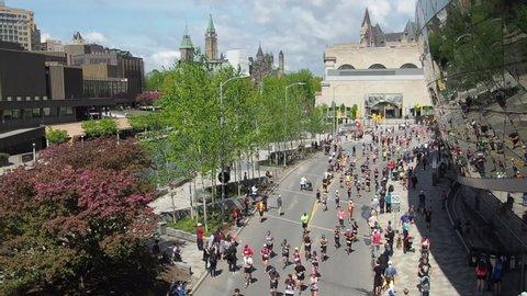 Ottawa, Ontario, Canada - May 26 2019: Runners took part in Ottawa Race Weekend (Ottawa Marathon) in downtown of Ottawa, Capital of Canada