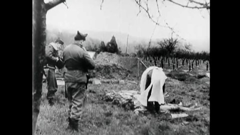 CIRCA 1940s - Footage of Hadamar Nazi Concentration Camp victims includes interrogation of Nazis and evidence of deaths by morphine overdoses.