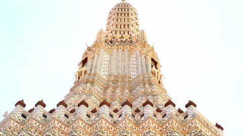 Wat Arun Temple in Bangkok Thailand, pan from bottom to top