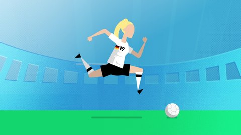 Germany female world cup soccer player running with a ball in a stadium. Loopable clip in 4K with alpha channel to use player on different backgrounds