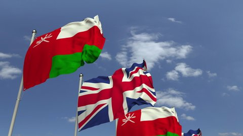 Flags Of Oman And The United Kingdom At International Meeting Loopable 3d Animation