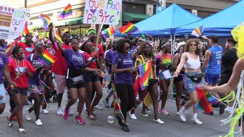 Toronto, Ontario, Canada June 2019 Massive crowds of people at Toronto gay pride parade