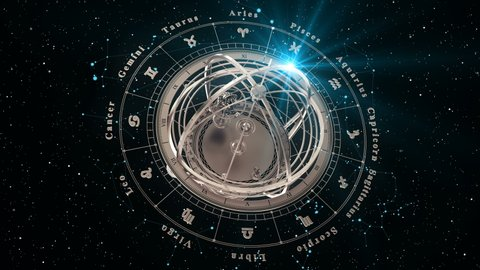 4K. Zodiac Signs and Armillary Sphere On Black Background. Seamless Looped. 3D Animation.