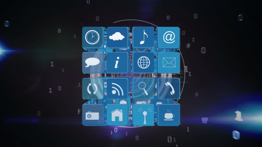 Digital animation of internet icons and symbols on cube with a background of program codes and binary. Concentric circles are slowly expanding in the background   Shutterstock HD Video #1032085724