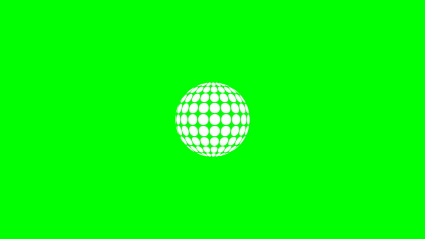 Abstract rotating sphere with circular panels against a green screen, final zoom-in for custom content placement