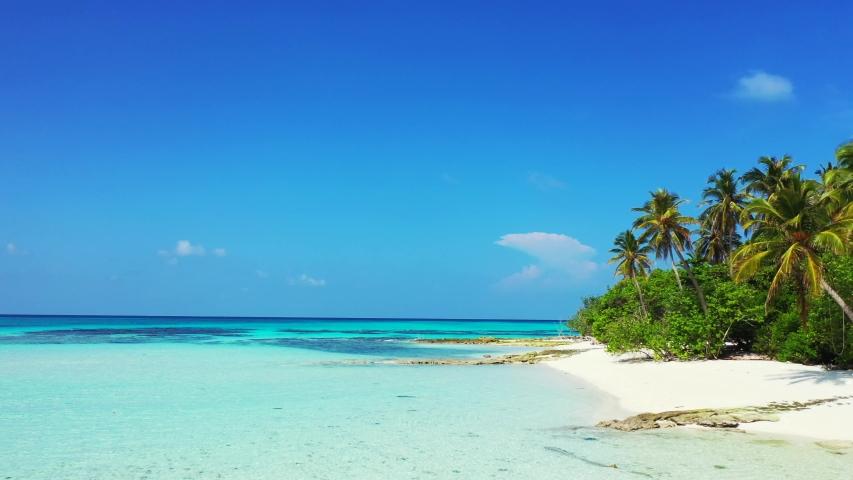 Caribbean drone aerial footage of tropical island coast near crystal clean ocean water caribbean | Shutterstock HD Video #1032226574