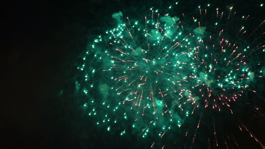 Different coloured fireworks at night | Shutterstock HD Video #1032232124