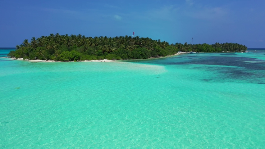 Beautiful drone ,point of view shot over turquoise water distant uninhabited island with tropical vegetation, and sandbanks in Caribbean sea, Jamaica coral reef | Shutterstock HD Video #1032238784