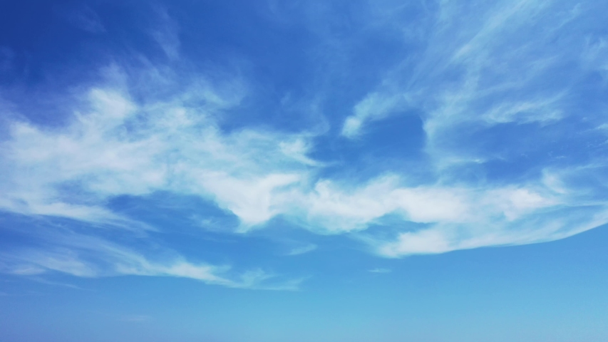 Deep blue sky with scattered clouds, Maldives Islands, Indian Ocean #1032270584