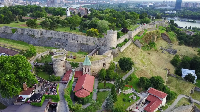 Kalemegdan Fortress and Sava River, Belgrade, Serbia (graded) Belgrade Fortress, consists of the old citadel and Kalemegdan Park on the confluence of the River Sava and Danube | Shutterstock HD Video #1032339704
