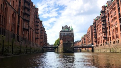 The old warehouse district (Speicherstadt) in Hamburg, Germany. The largest warehouse district in the world is located in the port of Hamburg within the HafenCity quarter and is Unesco World Heritage.