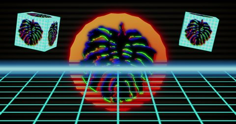 Loop background with neon grids, scorching sun and 3d cubes with monstera  leaves  retrowave video for geek intro, dj music, cyberpunk events
