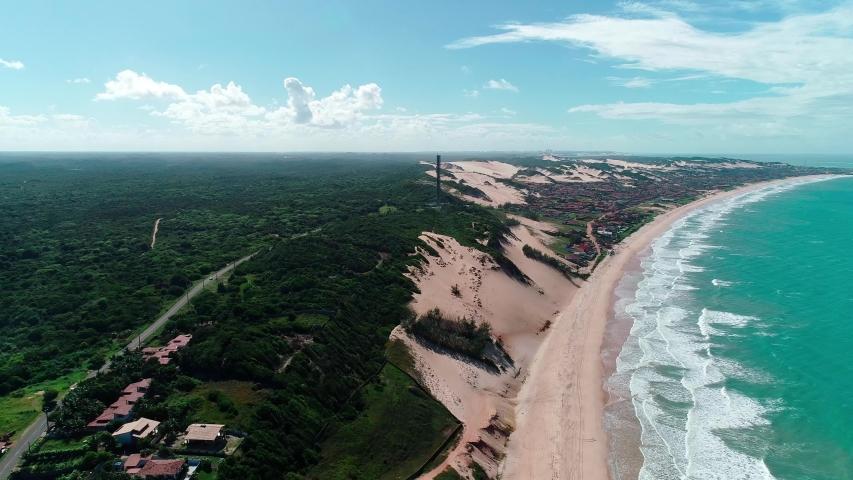 Aerial landscape beach of a beach in Brazil. Natal, Rio Grande do Norte, Brazil. | Shutterstock HD Video #1032414074