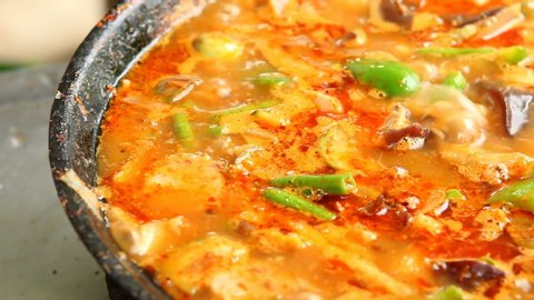 Cooking spicy meatball  curry or wild curry, Chiangmai Thailand